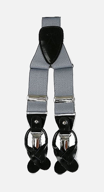 Men's Grey Suspenders | Elastic Button and Clip Convertible