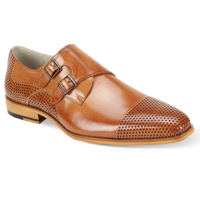 Giovanni Gyles Tan Monk Strap Men's Dress Shoes