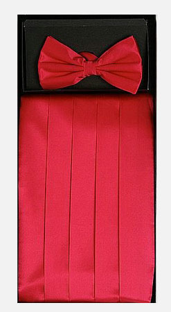 Men's Silk Hot Pink Cummerbund with Bow Tie