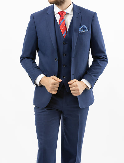 Men's Solid Royal Blue Vested 100% Wool Slim Fit Suit - Front