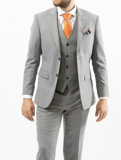 Men's Solid Light Grey Vested 100% Wool Slim Fit Suit - Front