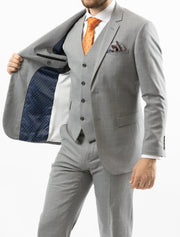 Men's Solid Light Grey Vested 100% Wool Slim Fit Suit - Front (Viewing Left Side Interior)
