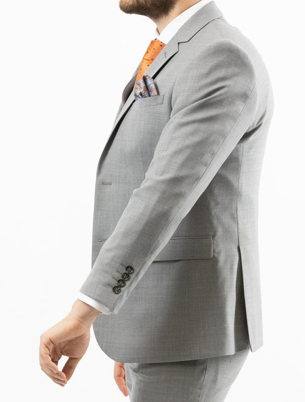 Men's Solid Light Grey Vested 100% Wool Slim Fit Suit - Left Side