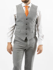 Men's Solid Light Grey Vested 100% Wool Slim Fit Suit - Front of Vest