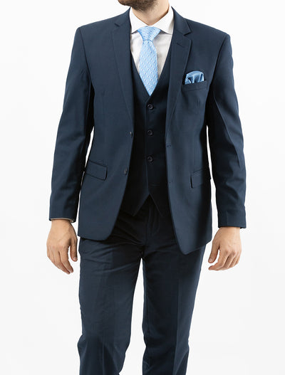Men's Solid Navy Vested Slim Fit Suit by Gianni Uomo - Front