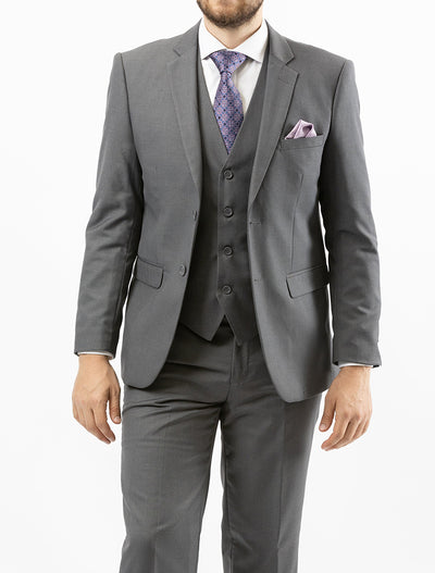 Men's Solid Grey Vested Slim Fit Suit by Gianni Uomo - Front