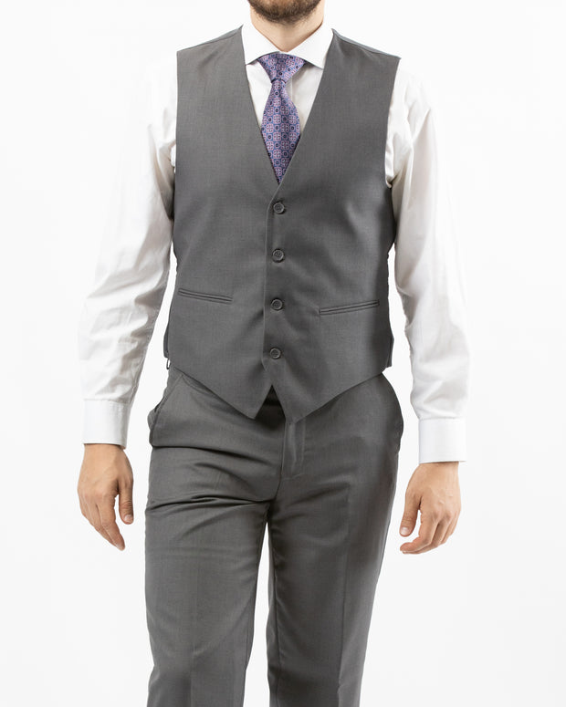 Men's Solid Grey Vested Slim Fit Suit by Gianni Uomo