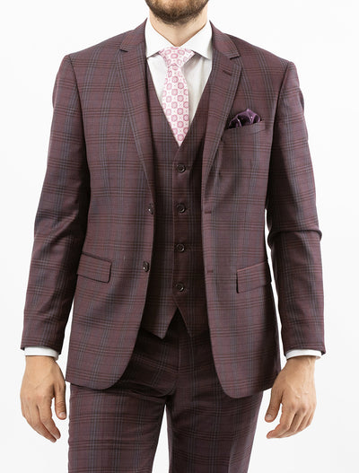 Men's Burgundy & Grey Plaid Vested 100% Wool Slim Fit Suit - Front