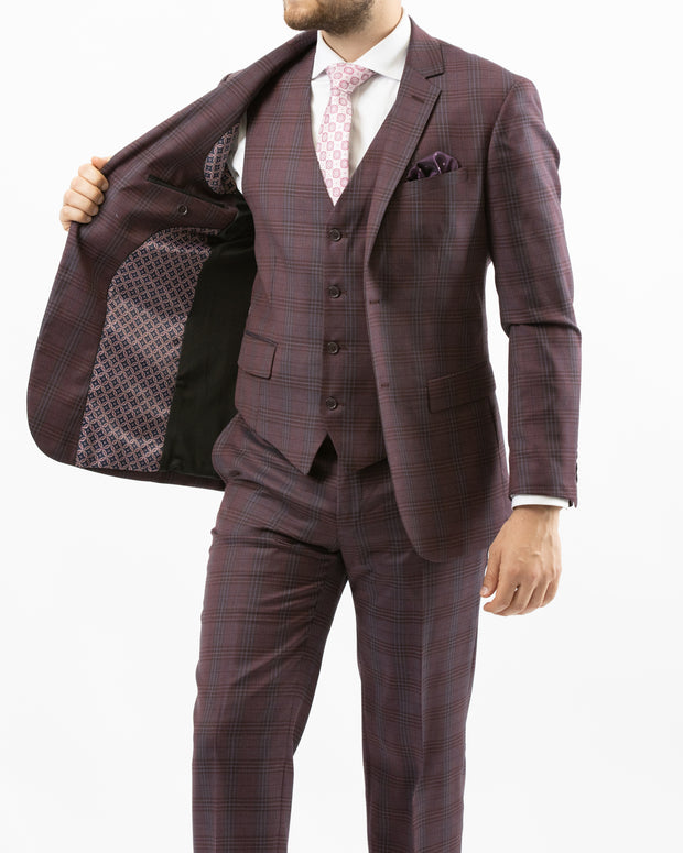 Men's Burgundy & Grey Plaid Vested 100% Wool Slim Fit Suit - Front (Viewing Left Side Interior)