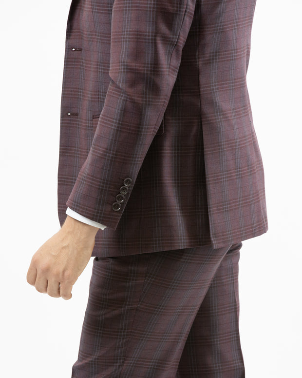 Men's Burgundy & Grey Plaid Vested 100% Wool Slim Fit Suit