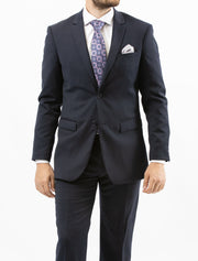 Men's Solid Navy 100% Wool Slim Fit Suit - Front