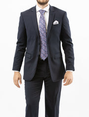 Men's Solid Navy 100% Wool Slim Fit Suit
