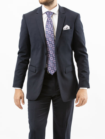 Men's Solid Navy 100% Wool Slim Fit Suit-Front