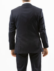 Men's Solid Navy 100% Wool Slim Fit Suit - Back