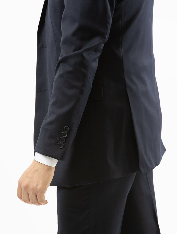 Men's Solid Navy 100% Wool Slim Fit Suit - Left Side