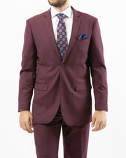 Men's Solid Burgundy Modern Fit Suit by Gianni Uomo - Front