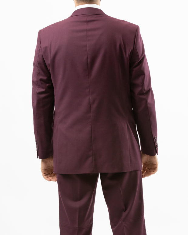Men's Solid Burgundy Modern Fit Suit by Gianni Uomo - Back