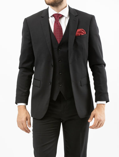 Men's Solid Onyx Black Vested 100% Wool Slim Fit Suit- Front