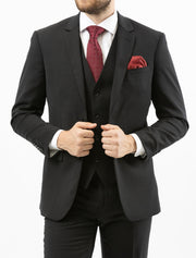 Men's Solid Onyx Black Vested 100% Wool Slim Fit Suit