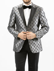 Men's Black and Silver Patterned Tuxedo Jacket by Couture 1910 - Front