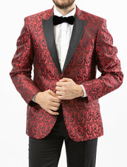 Men's Red Paisley Patterned Tuxedo Jacket by Couture 1910 - Front