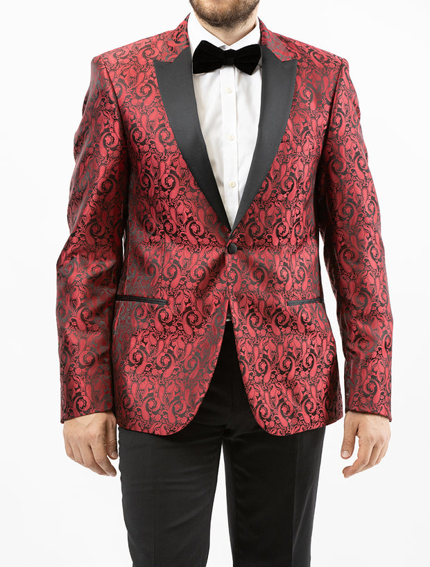 Men's Red Paisley Patterned Tuxedo Jacket by Couture 1910