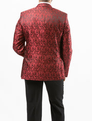 Men's Red Paisley Patterned Tuxedo Jacket by Couture 1910 - Back