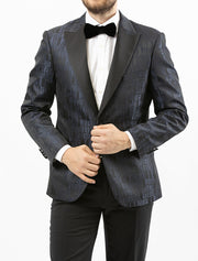 Men's Black and Grey Patterned Tuxedo Jacket by Couture 1910 - Front