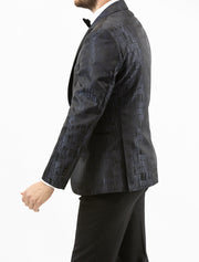 Men's Black and Grey Patterned Tuxedo Jacket by Couture 1910 - Left Side