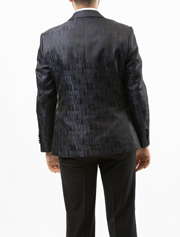 Men's Black and Grey Patterned Tuxedo Jacket by Couture 1910 - Back