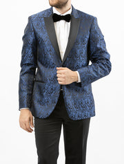 Men's Navy Blue Paisley Patterned Tuxedo Jacket by Couture 1910 - Front