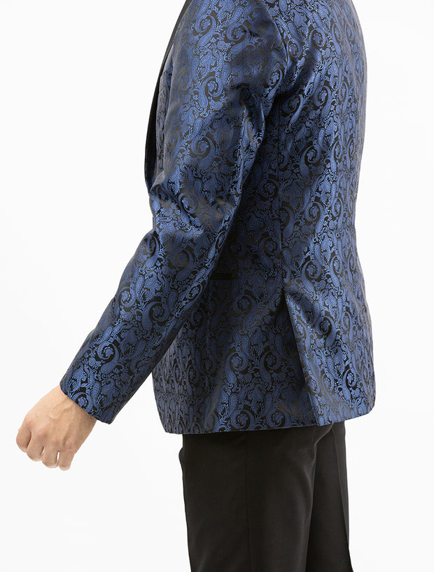 Men's Navy Blue Paisley Patterned Tuxedo Jacket by Couture 1910 - Left Side