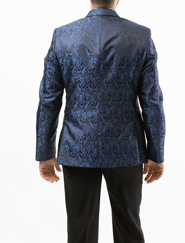 Men's Navy Blue Paisley Patterned Tuxedo Jacket by Couture 1910 - Back