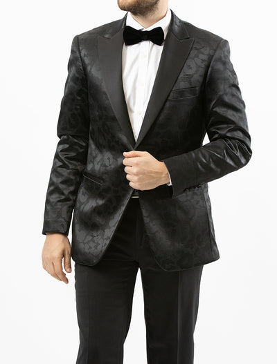 Men's Black Paisley Patterned Tuxedo Jacket by Couture 1910 - Front