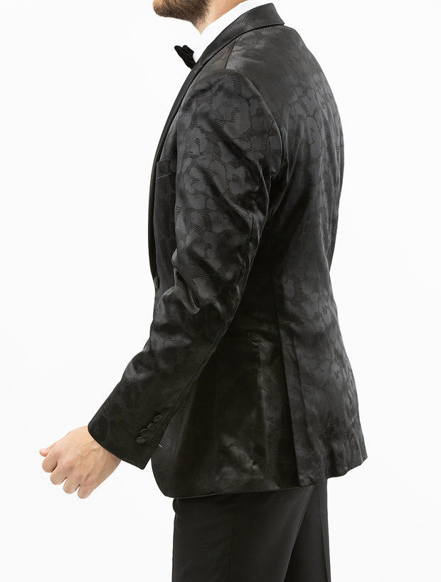 Men's Black Paisley Patterned Tuxedo Jacket by Couture 1910 - Left Side