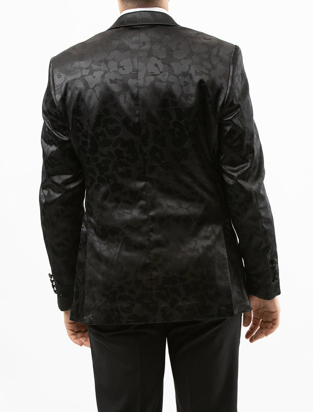 Men's Black Paisley Patterned Tuxedo Jacket by Couture 1910 - Back