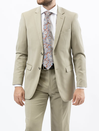 Men's Solid Tan 100% Wool Modern Fit Suit (Big & Tall) - Front