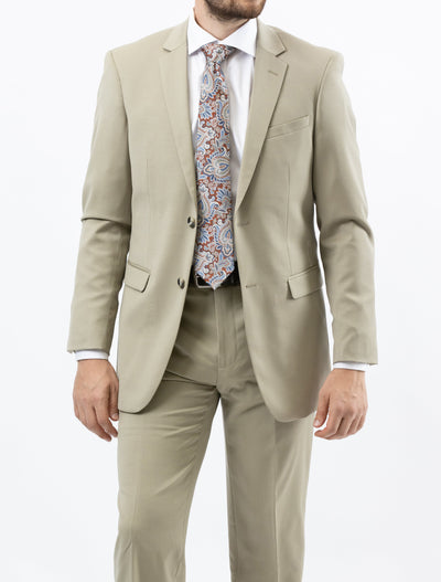 Suit includes jacket & trousers, 2-button single breast jacket, notch lapels, flap pockets, side vents.