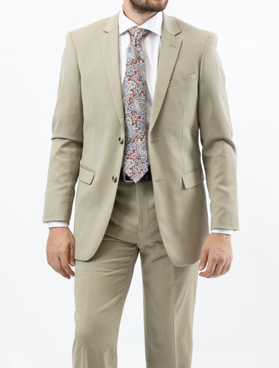 Men's Solid Tan 100% Wool Modern Fit Suit (Big & Tall)