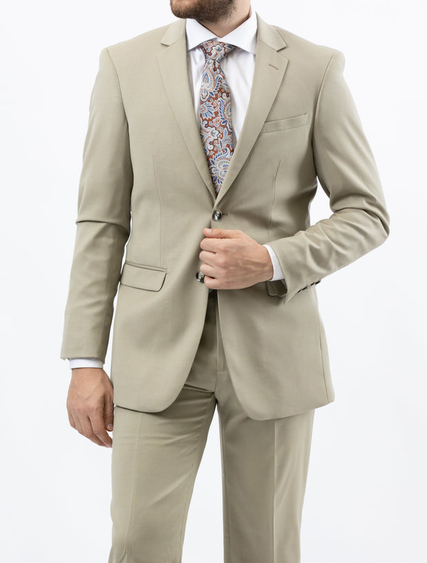 Men's Solid Tan 100% Wool Modern Fit Suit