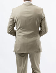 Men's Solid Tan 100% Wool Modern Fit Suit (Big & Tall) - Back