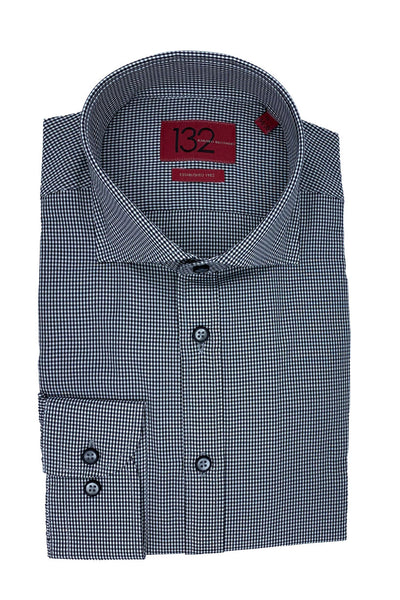 Men's Black & White Micro-Checkered 100% Cotton Tailored Fit Dress Shirt