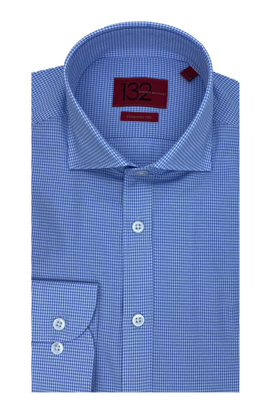 Men's Zaffre & Sky Blue Micro-Checkered 100% Cotton Tailored Fit Dress Shirt