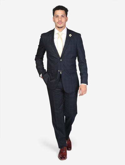 Men's Navy Windowpane Wool Slim Fit Suit Front View