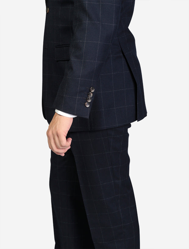 Men's Navy Windowpane Wool Slim Fit Suit