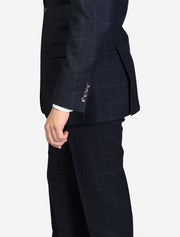 Men's Navy Windowpane Wool Big & Tall Suit