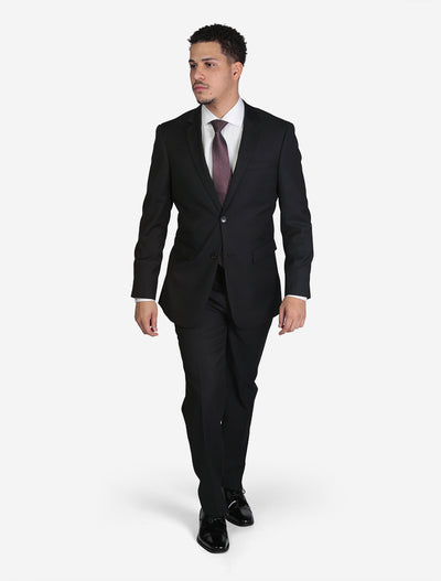 Men's Black Pin Stripe Wool Slim Fit Suit - Front View - Model Hand In Pocket