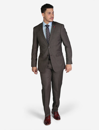 Men's Solid Brown Slim Fit Wool Suit by FUBU - Front View
