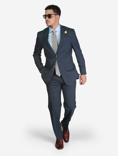 Men's Blue Windowpane Plaid Slim Fit Wool Suit by FUBU - Front View - Model Wearing Glasses