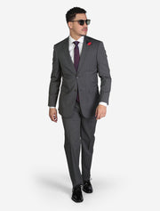 Men's Medium Grey Houndstooth Wool Slim Fit Suit by FUBU